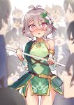 1girl @_@ antenna_hair bangs bare_shoulders blush breasts detached_sleeves dress elf flower green_dress green_sleeves hair_between_eyes hair_flower hair_ornament highres holding holding_staff kokkoro_(princess_connect!) long_sleeves looking_at_viewer multiple_boys nishin_(nsn_0822) open_mouth pink_eyes pointy_ears princess_connect! princess_connect!_re:dive puffy_long_sleeves puffy_sleeves see-through_sleeves short_hair silver_hair sleeveless sleeveless_dress small_breasts staff thighs yuuki_(princess_connect!)