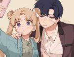 1boy 1girl bangs beige_background bishoujo_senshi_sailor_moon blonde_hair blue_eyes bow cellphone chiba_mamoru collared_shirt double_bun finger_to_another's_mouth group_picture hair_bow half-closed_eyes hand_on_another's_shoulder highres layered_clothing long_hair looking_at_phone parted_bangs phone shirt simple_background smartphone taking_picture tsukino_usagi twintails twitter_username upper_body