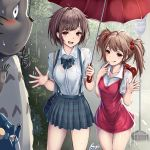 2girls :/ :d :q ahoge animal backpack bag bangs blush bow bowtie breasts brown_hair bush collarbone commentary_request cowboy_shot dress dress_shirt finger_to_mouth hair_bobbles hair_ornament hands_up highres holding holding_umbrella kusakabe_mei kusakabe_satsuki looking_at_viewer medium_breasts medium_hair miniskirt monikano multiple_girls naughty_face open_mouth outdoors pink_dress plaid plaid_skirt pleated_skirt rain red_bag red_eyes red_umbrella road road_sign see-through shirt shirt_tucked_in short_hair short_sleeves shoulder_bag sign skirt sleeveless sleeveless_dress smile standing street suspender_skirt suspenders thigh_gap tonari_no_totoro tongue tongue_out totoro totoro_bus_stop umbrella water wet wet_clothes wet_hair wet_shirt white_shirt