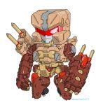 artist_name autobot chibi highres jeulove-sma11-white mecha no_humans redesign rollbar smirk solo standing transformers visor white_background