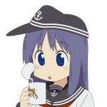 1girl :o akatsuki_(kantai_collection) anchor_symbol bangs black_sailor_collar blush cameo character_print coffee_mug commentary_request cup eyebrows_visible_through_hair flat_cap hat holding holding_cup kagerou_(kantai_collection) kantai_collection long_hair long_sleeves looking_down mug neckerchief nichijou parody purple_hair red_neckwear sailor_collar school_uniform serafuku sidelocks simple_background solo steam style_parody sugapi upper_body violet_eyes white_background white_serafuku
