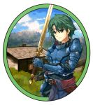 1boy alm_(fire_emblem) armor bangs breastplate circlet closed_mouth day eyebrows_visible_through_hair fire_emblem fire_emblem_echoes:_shadows_of_valentia fuussu_(21-kazin) green_eyes green_hair hair_between_eyes highres holding holding_sheath holding_sword holding_weapon male_focus outdoors sheath shoulder_armor spaulders standing sword weapon