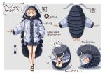 1girl antennae bare_legs blonde_hair brown_eyes commentary_request green_nails grey_background hip_focus hood hood_up hooded_jacket isopod jacket leg_hug looking_at_viewer multiple_views original outstretched_arm plan_(planhaplalan) sandals short_hair simple_background smile toenail_polish translation_request