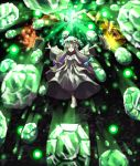 1girl arms_at_sides bangs black_background blue_bow blue_ribbon blunt_bangs book bow crescent crescent_hair_ornament crossed_ankles danmaku dark dress emerald_(gemstone) floating floating_book floating_object frilled_dress frilled_sleeves frills full_body gem glowing hair_bow hair_ornament hair_ribbon hat hat_ribbon highres long_hair looking_down magic magic_circle mob_cap open_book outstretched_arms pajamas parted_bangs patchouli_knowledge purple_bow purple_dress purple_hair purple_ribbon ribbon slippers solo spell_card spread_arms sunyup tied_hair touhou transformation very_long_hair violet_eyes white_footwear wide_sleeves