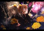 2girls absurdres back-to-back black_kimono blush brown_hair fireworks floral_print flower girls_frontline gun hair_flower hair_ornament heart highres holding holding_weapon japanese_clothes katsuya_228 kimono long_hair long_sleeves looking_at_viewer looking_back multiple_girls nail_polish night open_mouth orange_eyes orange_hair outdoors pipe sash scar scar_across_eye smile teeth ump45_(girls_frontline) ump9_(girls_frontline) violet_eyes weapon yellow_flower yellow_nails yellow_sash