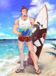 1boy abs absurdres alternate_costume bara beard blue_eyes brown_hair chest clouds cloudy_sky day facial_hair fate/grand_order fate_(series) full_body hand_on_hip highres icelernd looking_at_viewer male_focus male_swimwear muscle napoleon_bonaparte_(fate/grand_order) nipple_slip nipples ocean pectorals sandals scar shorts sky smile solo surfboard swim_briefs swimsuit swimwear tank_top