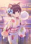 1girl animal_ear_fluff animal_ears bangs bell blue_bow blush bow brown_hair cat_ears closed_mouth commentary_request cotton_candy eating eyebrows_visible_through_hair food grey_eyes hair_bow holding holding_food japanese_clothes jingle_bell kimono long_sleeves looking_at_viewer nekokan_masshigura obi original outdoors print_kimono railing sash signature silhouette solo_focus sunset twitter_username two_side_up water white_kimono wide_sleeves