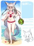 1girl :d absurdly_long_hair absurdres animal animal_ear_fluff animal_ears bangs bare_arms bare_legs bare_shoulders barefoot bikini breasts chibi collarbone commentary_request crab day eyebrows_visible_through_hair food fox_ears fox_girl fox_tail frilled_bikini frills fruit grey_hair hair_between_eyes highres holding holding_animal long_hair medium_breasts multiple_views navel open_mouth original outdoors ponytail red_eyes sidelocks smile standing standing_on_one_leg swimsuit tail translation_request very_long_hair water watermelon white_bikini yuuji_(yukimimi)