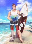 1boy abs absurdres alternate_costume bara beard blue_eyes brown_hair chest clouds cloudy_sky day facial_hair fate/grand_order fate_(series) french_flag_swimsuit full_body hand_on_hip highres icelernd looking_at_viewer male_focus muscle napoleon_bonaparte_(fate/grand_order) nipple_slip nipples ocean pectorals sandals scar shorts sky smile solo surfboard swimsuit tank_top