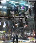 4boys cable changkyu_kim copyright_name english_text glowing hangar highres machinery mecha mechanic multiple_boys open_hands restol_machine_1 restol_machine_2 restol_machine_5 restol_special_rescue_squad solo_focus