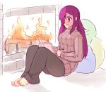 1girl barefoot black_pants book burn_scar casual commentary cup english_commentary fire fireplace full_body hair_over_one_eye ikezawa_hanako katawa_shoujo long_hair long_sleeves mug pants pillow purple_hair reading reclining ribbed_sweater rtil scar sitting smile solo sweater turtleneck turtleneck_sweater violet_eyes