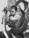 1boy greyscale japanese_clothes katana kibagami_genjuro long_hair monochrome muscle nao3art ponytail samurai_spirits scar solo sword weapon