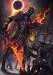 2others armor armored_boots ashen_one_(dark_souls_3) belt black_sky boots breastplate capelet commentary_request dagger dark_souls_iii eclipse embers facing_another feet_out_of_frame field_of_blades flaming_sword flaming_weapon full_armor full_body gauntlets glowing glowing_hand greaves helmet highres holding holding_sword holding_weapon hood hood_up magic moon multiple_others one_knee outdoors pauldrons planted_sword planted_weapon red_capelet sheath sheathed shoulder_armor solar_eclipse soul_of_cinder souls_(from_software) spaulders standing sun sword touge_(kubiwa_tsuki) weapon