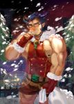 1boy bara blush bulge chest christmas dark_blue_hair facial_hair fang glasses highres horns icelernd jewelry looking_at_viewer male_focus muscle necklace nipple_slip nipples pectorals revealing_clothes scar shorts snowing solo takemaru_(tokyo_houkago_summoners) thick_eyebrows thick_thighs thighs tight_top tokyo_houkago_summoners translation_request upper_body