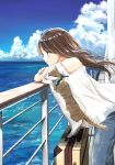 1girl bandana brown_eyes brown_hair cat closed_mouth commentary_request day denim ferry_(ship) hair_blowing highres horizon jeans leaning_on_rail ocean original outdoors pants railing ship shirt signature sky smile solo soragane_(banisinngurei) suitcase summer watercraft white_shirt