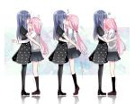 2girls black_dress black_legwear blue_eyes blue_hair blush braid christy closed_eyes dress embarrassed hand_on_another's_head heart highres hug kiss long_hair looking_at_another magia_record:_mahou_shoujo_madoka_magica_gaiden mahou_shoujo_madoka_magica motion_lines multiple_girls nanami_yachiyo open_mouth pink_eyes pink_hair ponytail school_uniform scrunchie shoes simple_background skirt socks surprise_kiss surprised tamaki_iroha thigh-highs white_background yuri