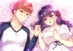 1boy 1girl :d absurdres bangs blush bow breasts brown_hair closed_mouth collared_dress commentary_request dress emiya_shirou eye_contact eyebrows_visible_through_hair fate/stay_night fate_(series) flower hair_between_eyes hair_bow heaven's_feel highres holding_hands long_hair long_sleeves looking_at_another lying matou_sakura medium_breasts on_back open_mouth pink_flower puffy_short_sleeves puffy_sleeves purple_hair raglan_sleeves red_bow shirt short_sleeves smile suzunone_rena upper_body violet_eyes white_dress white_shirt yellow_eyes