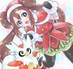 1girl :d bangs belt black_belt black_gloves black_legwear blue_eyes blush brown_hair capelet clenched_hands delibird dress eyelashes gen_2_pokemon gloves hands_up hat highres long_hair mei_(pokemon) nago_celica open_mouth pokemon pokemon_(creature) pokemon_(game) pokemon_masters red_dress sack santa_costume santa_hat sidelocks smile star_(symbol) thigh-highs zettai_ryouiki