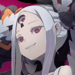 1girl abigail_williams_(fate/grand_order) abigail_williams_(swimsuit_foreigner)_(fate) bangs bare_shoulders black_background black_bow bow breasts collarbone double_bun fate/grand_order fate_(series) forehead gajumaru09 grin hat keyhole long_hair looking_at_viewer multiple_bows orange_bow parted_bangs sharp_teeth sidelocks small_breasts smile teeth third_eye very_long_hair violet_eyes white_hair white_skin
