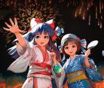 2girls black_hair brown_hair fireworks hair_ribbon japanese_clothes kimono long_hair multiple_girls nakoruru nao3art ribbon rimururu samurai_spirits short_hair torii yukata