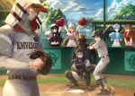 4boys 4girls animal_ears ayanami_rei bangs baseball baseball_base baseball_bat baseball_cap baseball_helmet baseball_jersey baseball_mitt baseball_uniform belt belt_buckle black_footwear black_hair black_jacket black_shirt blonde_hair blue_hair blue_skirt blue_sky boots breasts brown_belt brown_hair buckle catcher character_request cheerleader chest_protector closed_mouth clothes_writing collared_shirt commentary_request day fence gloves hat helmet highleg highleg_leotard highres holding hood hood_up horse_head ikari_shinji jacket layered_sleeves leotard long_hair long_sleeves looking_at_viewer mashuu_(neko_no_oyashiro) mask midriff mouth_mask multiple_boys multiple_girls navel neon_genesis_evangelion open_mouth outdoors pants pitcher pleated_skirt pom_poms red_eyes redhead shirt short_hair short_sleeves skirt sky smile souryuu_asuka_langley sportswear squatting standing sweat t-shirt white_jacket white_leotard white_pants white_shirt