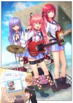 1boy 2girls angel_beats! badge blue_eyes blue_sailor_collar blue_skirt choker commentary_request cosplay cross-laced_footwear crossdressing demon_tail dutch_angle electric_guitar green_eyes guitar hair_ribbon highres instrument irie_(angel_beats!) irie_(angel_beats!)_(cosplay) iwasawa iwasawa_(cosplay) leg_belt long_hair looking_at_viewer medium_hair multiple_girls nakamura_hinato neck_ribbon one_eye_closed original otoko_no_ko pink_hair pink_ribbon pleated_skirt purple_hair redhead ribbon sailor_collar school_uniform serafuku shinda_sekai_sensen_uniform skirt sparkle tail tokyo_big_sight translation_request two_side_up violet_eyes yui_(angel_beats!) yui_(angel_beats!)_(cosplay)