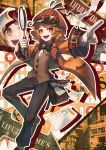 :d androgynous belt black_bow black_pants bow bowtie brown_eyes brown_hair brown_headwear brown_vest copyright_request gloves highres jacket long_sleeves looking_at_viewer magnifying_glass open_mouth orange_jacket pants paper pointing pouch sho_(sumika) smile solo standing standing_on_one_leg vest white_gloves wide_sleeves zoom_layer