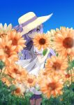 1girl azur_lane bangs black_sailor_collar blurry blurry_foreground brown_headwear commentary_request covered_mouth day depth_of_field dress field flower flower_field frilled_dress frills hair_between_eyes hat hat_ribbon holding holding_flower long_hair looking_at_viewer looking_to_the_side orange_flower outdoors purple_hair purple_ribbon ribbon sailor_collar sailor_dress short_sleeves sidelocks solo standing straw_hat sukireto sunflower unicorn_(azur_lane) very_long_hair violet_eyes white_dress