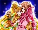 1boy 1girl armor athena_(series) fighting_stance full_armor golden_armor kido_saori pink_armor saint_seiya saint_seiya:_next_dimension serious