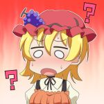 1girl :o ? aki_minoriko bangs blonde_hair blush cato_(monocatienus) chibi commentary eyebrows_visible_through_hair food fruit grapes hair_between_eyes hat mob_cap neck_ribbon o_o outline puffy_sleeves red_headwear ribbon short_hair simple_background solo sweat touhou upper_body white_outline