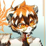 1girl animal_ear_fluff animal_ears arknights chinese_clothes closed_mouth fingerless_gloves furry glasses gloves hand_on_own_chin highres jue_zz looking_away medium_hair multicolored_hair orange_hair solo solo_focus tail tiger_ears tiger_tail waai_fu_(arknights)