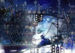1girl absurdres bridge cityscape clock fantasy ground_vehicle highres original outdoors road_sign scenery sign snowing stairs traffic_light train yanagifor