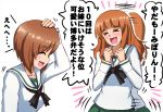 >_< 2girls :d afterimage bangs black_neckwear blouse blunt_bangs brown_eyes brown_hair clenched_hands closed_eyes commentary eyebrows_visible_through_hair facing_another girls_und_panzer green_skirt hand_on_own_head highres long_hair long_sleeves motion_lines multiple_girls neckerchief nishizumi_miho omachi_(slabco) ooarai_school_uniform open_mouth orange_hair pleated_skirt sailor_collar school_uniform serafuku short_hair skirt smile standing takebe_saori translation_request white_background white_blouse white_sailor_collar