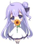 1girl ahoge azur_lane bangs black_footwear black_ribbon blush_stickers chibi commentary_request covered_mouth dress eyebrows_visible_through_hair flower frilled_dress frills hair_between_eyes hair_bun hair_ribbon holding holding_flower looking_at_viewer one_side_up orange_flower purple_hair ribbon shoes short_sleeves side_bun simple_background solo sukireto sunflower unicorn_(azur_lane) violet_eyes white_background white_dress