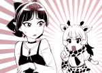 bow breasts choker crossover dress gegege_no_kitarou hair_bow kemono_friends monochrome multiple_girls nekomusume nekomusume_(gegege_no_kitarou_6) open_mouth pointing pointy_ears reticulated_giraffe_(kemono_friends) short_hair ueyama_michirou