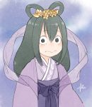 1girl asui_tsuyu black_eyes boku_no_hero_academia flower green_hair hair_flower hair_ornament hair_rings igawa333 japanese_clothes kimono long_hair looking_at_viewer night night_sky outdoors purple_kimono scarf signature sky solo tanabata upper_body