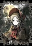 1girl absurdres bangs blonde_hair bloodborne bonnet brooch brown_cloak cloak closed_mouth commentary_request cravat flower forest frame full_moon grey_eyes hat highres jewelry looking_away moon nature outdoors parted_bangs plain_doll red_headwear red_neckwear rose shimoda_masaya short_hair solo tree