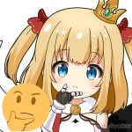 1girl bare_shoulders black_wings blonde_hair blue_eyes blush bow chin_stroking closed_mouth commentary_request crown emoji gauntlets hair_bow hand_up long_hair looking_at_viewer maaru_(shironeko_project) miicha mini_crown mismatched_wings red_bow shironeko_project shirt simple_background sleeveless sleeveless_shirt solo tilted_headwear twitter_username two_side_up upper_body white_background white_shirt white_wings wings