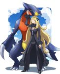 1girl absurdres arm_at_side arm_up black_coat black_footwear black_pants black_shirt blonde_hair breasts closed_mouth coat commentary_request fur-trimmed_coat fur_collar fur_trim garchomp gen_4_pokemon grey_eyes high_heels highres long_hair pants pokemon pokemon_(creature) pokemon_(game) pokemon_dppt shirona_(pokemon) shirt size_difference smile standing very_long_hair yoshinatsu