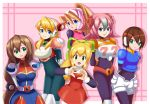 6+girls aile alia_(rockman) arms_behind_back big_hands blue_jacket bow ciel_(rockman) closed_mouth crossover cute green_eyes happy iris_(rockman_x) long_hair nana_(rockman) open_mouth pink_vest ponytail red_dress robot rockman rockman_(classic) rockman_x rockman_zero roll short_hair shoulder_pads sincity2100