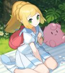 1girl backpack bag bangs between_legs blonde_hair braid character_doll chorefuji clefairy clenched_hand closed_mouth commentary day eyelashes flower gen_1_pokemon grass green_eyes hand_between_legs hand_up leaf lillie_(pokemon) looking_to_the_side outdoors pleated_skirt pokemon pokemon_(game) pokemon_sm ponytail shiny shiny_hair shirt shoes short_sleeves sitting skirt smile socks solo tree wariza white_legwear