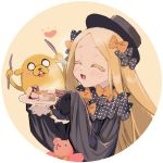 1boy 1girl abigail_williams_(fate/grand_order) adventure_time bangs black_bow black_dress black_headwear blonde_hair blush bow breasts butter closed_eyes crossover dog dress fate/grand_order fate_(series) food forehead fork hair_bow hat heart jake_the_dog knife long_hair multiple_bows open_mouth orange_bow pancake parted_bangs plate polka_dot polka_dot_bow ribbed_dress sleeves_past_fingers sleeves_past_wrists small_breasts smile stuffed_animal stuffed_toy syrup teddy_bear yaku_(ziroken)