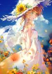 1girl arms_behind_back bangs bare_back blush closed_mouth clouds commentary_request day dress emma_(yakusoku_no_neverland) eyelashes flower green_eyes hair_flower hair_ornament hat kinokohime orange_hair outdoors short_hair sky sleeveless sleeveless_dress solo straw_hat sundress white_headwear yakusoku_no_neverland