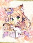 1girl animal_ear_fluff animal_ears bangs bare_shoulders blush braid breasts brown_footwear brown_hair brown_kimono cat_ears cat_girl cat_tail chibi closed_mouth commentary_request copyright_request crossed_legs eyebrows_visible_through_hair fan flower folding_fan gloves green_eyes hair_flower hair_ornament holding holding_fan japanese_clothes kimono long_hair looking_at_viewer medium_breasts obi rose ryuuka_sane sash shoes sitting solo tail thigh-highs very_long_hair white_flower white_gloves white_legwear white_rose yagasuri yellow_flower yellow_rose