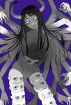 1girl big_mouth black_hair blue_background breasts chainsaw_man collarbone demon demon_girl demon_horns doll_joints expressionless extra_arms extra_breasts extra_eyes glowing glowing_eyes highres horns horror_(theme) joints long_hair looking_at_viewer looking_to_the_side medium_breasts mole mole_under_eye mole_under_mouth monochrome monster_girl multiple_hands multiple_heads navel no_eyebrows no_nipples nude santa_claus_(chainsaw_man) shadow shuang9705 silhouette transformation very_long_hair