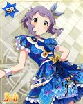 blush dress green_eyes idolmaster_million_live!_theater_days makabe_mizuki purple_hair short_hair smile