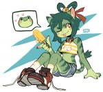 1girl :3 ;p animal_ear_fluff animal_ears animal_nose animal_print bare_shoulders bell blush_stickers breasts cat cat_ears cat_girl cat_tail claws clothing_request collar english_commentary fang food frog_girl frog_print furry green_fur green_hair hair_between_eyes holding holding_food hybrid jingle_bell looking_to_the_side medium_breasts medium_hair one_eye_closed orange_eyes original patty_(sui_(suizilla)) pawpads red_collar signature simple_background sitting socks solo spoken_animal sui_(suizilla) tail tongue tongue_out two-tone_fur white_background white_legwear