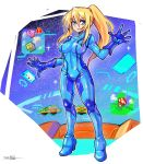 1boy 1girl alien block bodysuit company_connection crossover gloves highres holographic_interface kirby kirby_(series) mario_(series) metroid multiple_crossover mushroom nintendo oomasa_teikoku open_hands samus_aran skin_tight social_network solo_focus standing twitter twitter_logo zero_suit
