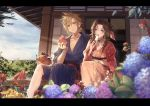 1boy 1girl aerith_gainsborough alternate_costume bangle bangs blonde_hair blue_eyes blue_kimono blue_sky blurry blush bracelet brown_hair closed_mouth cloud_strife clouds cloudy_sky commentary day depth_of_field drill_hair eating final_fantasy final_fantasy_vii floral_print flower food fruit green_eyes hair_ribbon holding holding_food japanese_clothes jewelry kieta kimono letterboxed long_hair looking_at_viewer necklace obi open_door open_mouth outdoors parted_bangs patio plate popsicle red_kimono ribbon sash short_hair side-by-side side_drill sitting sky sliding_doors smile spiky_hair twin_drills watermelon