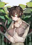 1boy absurdres animal animal_ears brown_hair cat cat_ears closed_mouth commentary_request green_eyes hair_between_eyes highres holding holding_animal holding_cat kusariuta leaf long_sleeves looking_at_viewer male_focus original shirt solo upper_body white_shirt